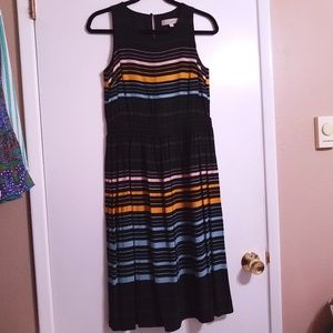 Ann Taylor LOFT Black Sleeveless Striped Midi